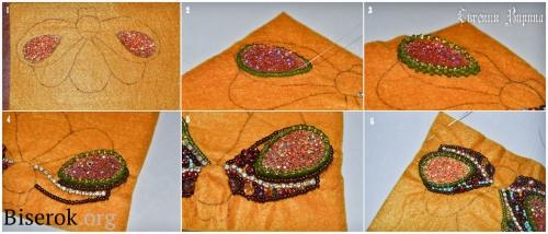 брошь в виде жук, вышивка бисером по фетру, оплетение кабошона в форме капли в мозаичной технике, мастер-класс, МК, мк, схема