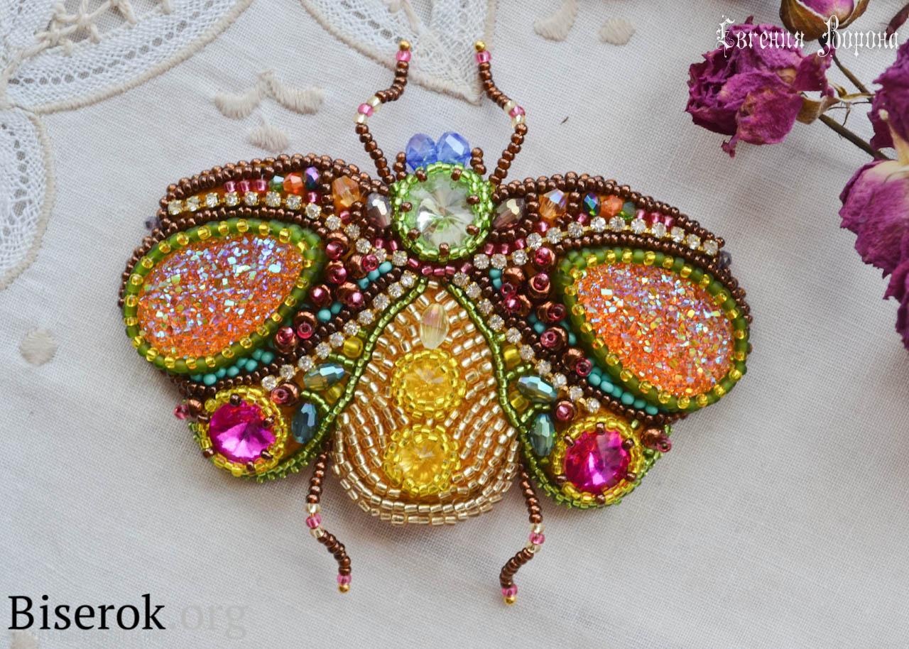 брошь для клатча в виде жука Spring Rainbow брошь из бисера бисерок