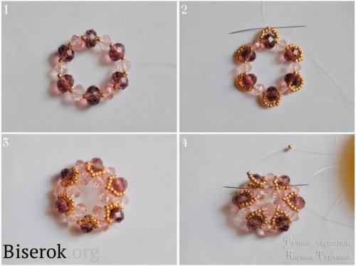 Простой в исполнении очень эффектный браслет из бисера и бусин своими руками, плетение центрального эллемента браслета, простой мастер-класс с пояснениями, схема плетения для начинающих