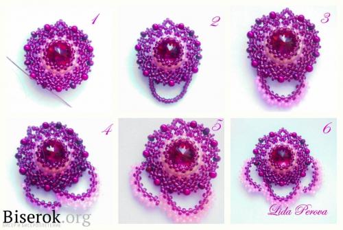 оформление сережек из бисера, оплетение риволи, плетение мозаикой, ажурное плетение, мастер-класс, схема с пояснениями