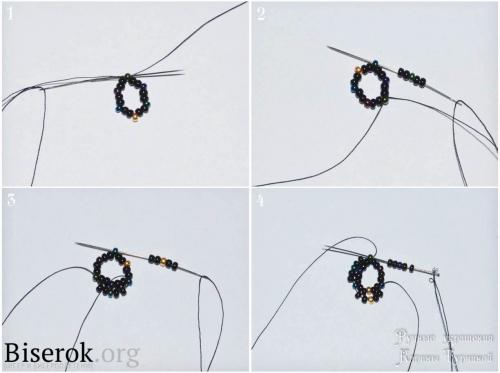 Расшитый биконусами бисерный жгут, схема плетения бисерного жгута по кругу, понятный мастер-класс