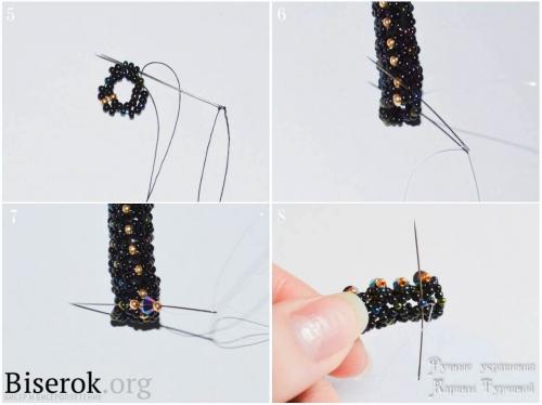 Ажурный плетеный бисерный жгут, как расщить жгут биконусами, схема, мастер-класс