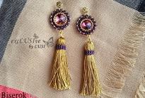 Модные серьги с кистями своими рукми, оплетение риволи 14 мм, гобеленное плетение, простая схема, понятный мастер-класс для начинающих