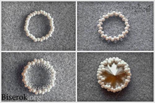 Ажурные нежные серьги из бисера с риволи, оплетение риволи 14 мм