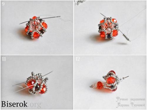 Плетеная бусина мастер-класс, схема красивых сережек из бисера