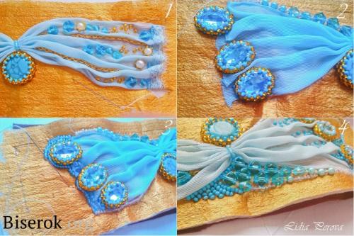 Вышивка браслета с тканью, декорирование браслета, оплетение кабашона, схема
