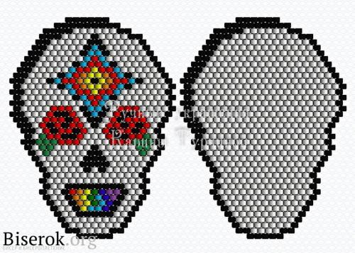 Схема черепа из бисера кирпичным плетением мозаикой