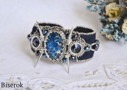 браслет вышивка бисером по замше, браслет с шипами и бисером, варисцит, мастер-класс, мк, браслет на жестком металлическом бланке