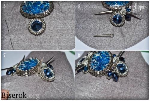 браслет на жесткой металлической основе, оплетение кристалла риволи ручным ткачеством, шипы, браслет с шипами, мастер-класс, мк, МК