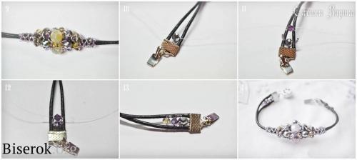 крепление фурнитуры и застежки к кожаному шнуру, браслет из бисера на шнуре, схема плетения ажурного жгута из бисера и бусин, мастер-класс, мк, МК, простой браслет на лето