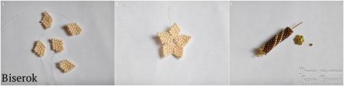 Плетение цветка кирпичным плетением схема, вязание бисерного жгута полустолбиком, мастер-класс