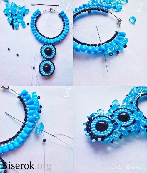 Крупные серьги-кольца из бисера, обшивае5м сколами хрусталя