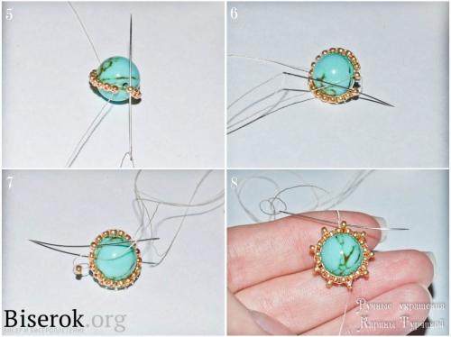 Оплетка бусины кирпичным плетением, схема