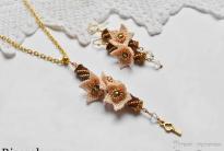 Красивые кулон и серьги из бисера своими руками, цветочки кирпичиком схема, вязание бисерного жгута, плетение жгута мозаикой схема, мастер-класс