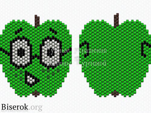 Схема яблока кирпичиком, двусторонний яркий брелок кирпичным плетением схема