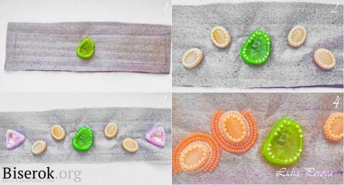 Разметка расположения камней, обшивание бусин