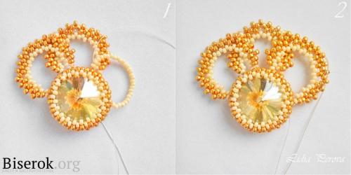 Ажурные золотистые серьги из бисера схема