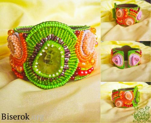Яркий фруктовый браслет своими руками, вышивка бисером