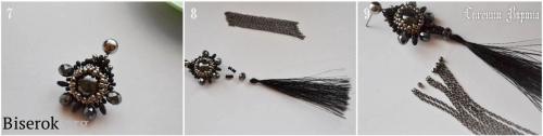 крепление кисти с цепочками к плетеным из бисера серьгам, подробный мастер-класс по плетению простых серег из бисера и бусин, мк, МК, схема, серьги за пол часа за 30 минут