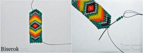 Плетем серьги из бисера мозаикой, крепление швензы