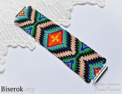 широкий браслет мозаичным плетением схема, мастер-класс