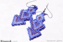 синие серьги из бисера