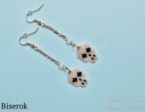 серьги с черепками из бисера мк по простым красивым сережкам из бисера, схема черепа кирпичным плетением
