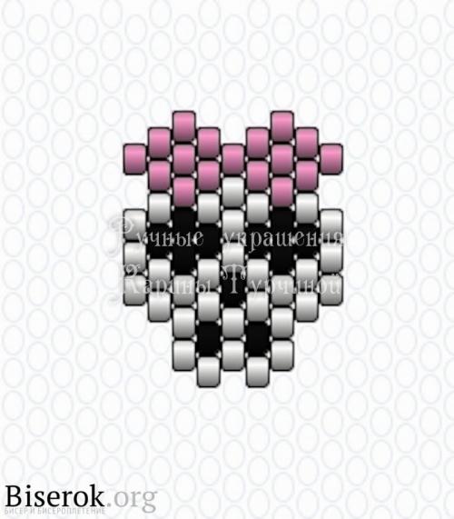 схема черепка с бантиком из бисера кирпичным плетением