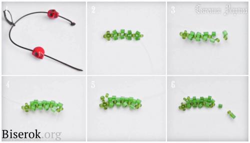 Косое мозаичное плетение схема плетения, листик из бисера схема, мастер-класс по сережкам