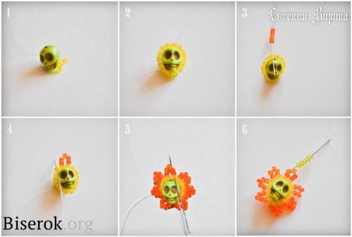 Оплетение бусины кирпичным стежком схема, цветочные серьги в стиле уичоли мастер-класс