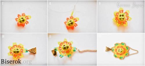 Схема плетения цветка в стиле уичоли, мастер-класс по яркому кулону с черепом из бисера