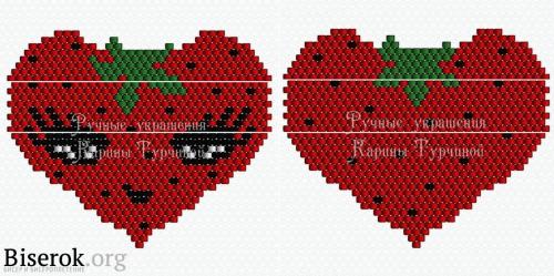 схема брелка клубничное сердце кирпичиком
