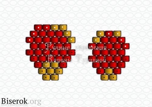 Схема миниатюрного цветка из бисера, кирпичное плетение