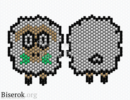 Схема овечки из бисера, символ 2015 года своими руками