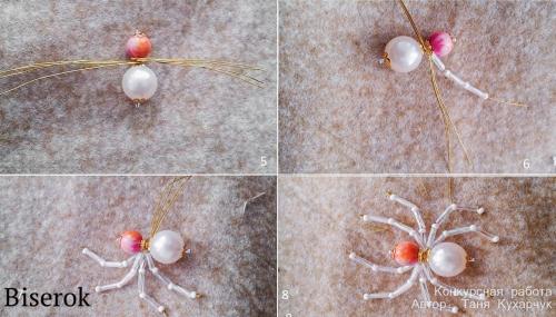 как сплести паука из бусин
