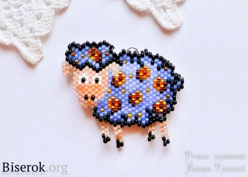 синяя овечка из бисера мастер-класс