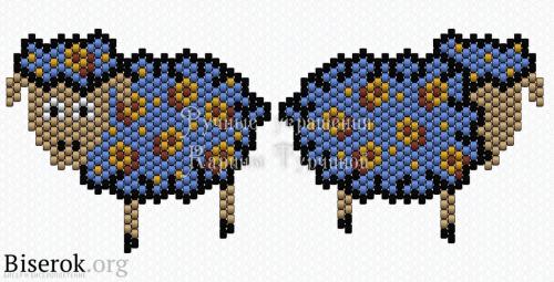 схема овечки из бисера кирпичным плетением
