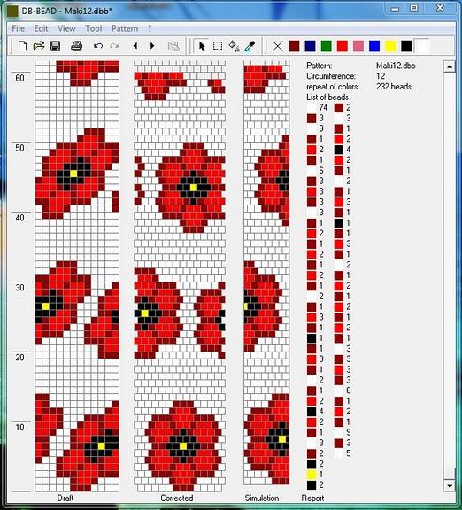 Вязание бисером маки схема