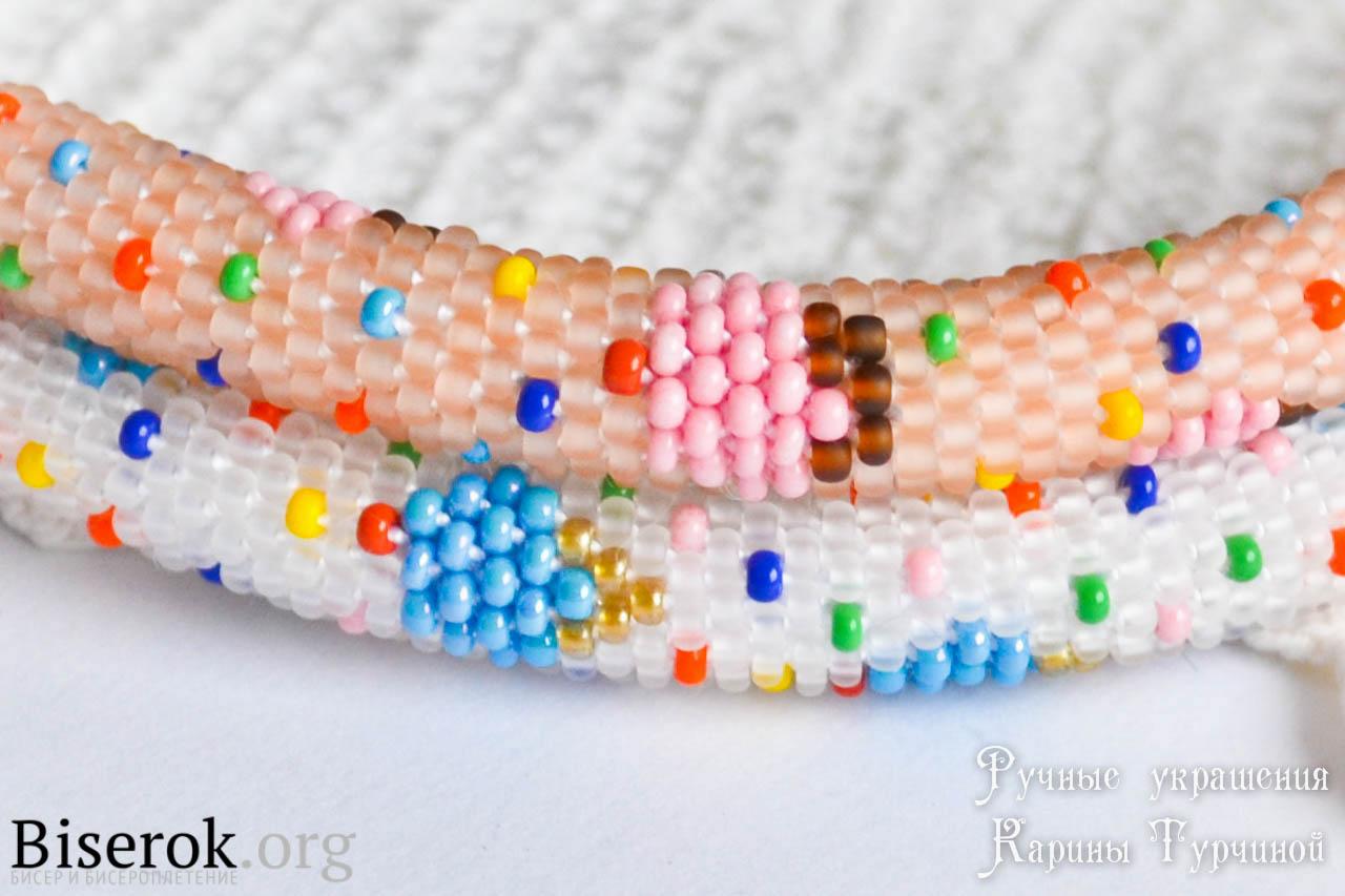 яркие сладкие жгутики браслеты из бисера вязание с бисером бисерок