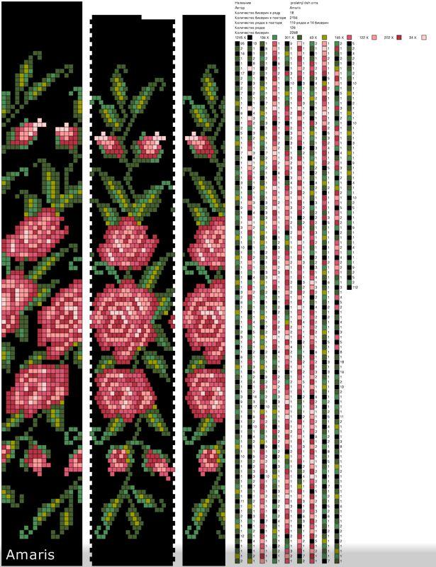 Схемы жгутов из бисера.  Яркие цветы.