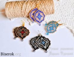 Серьги из бисера схема, серьги кирпичным плетением