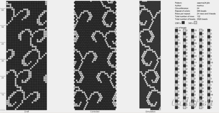 Черно-белые схемы жгутов из бисера крючком