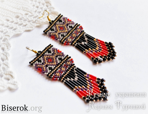Стильные этно-серьги из бисера схема плетения, мастер-класс