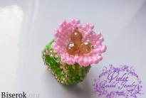 Зажим-брошь для шейного платка «Pink Flower»