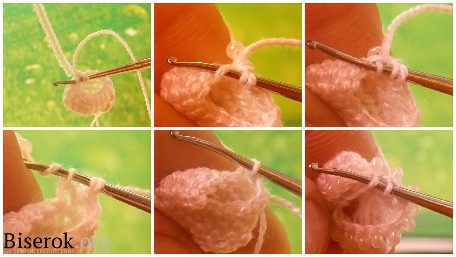 Полустолбик вязание жгутов из бисера
