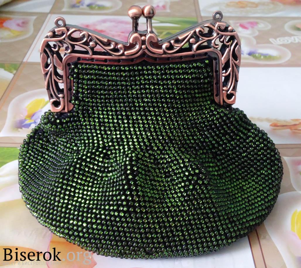 Вязание бисером кошелек с фермуаром 16