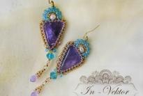 Фиолетовые серьги с аметистом