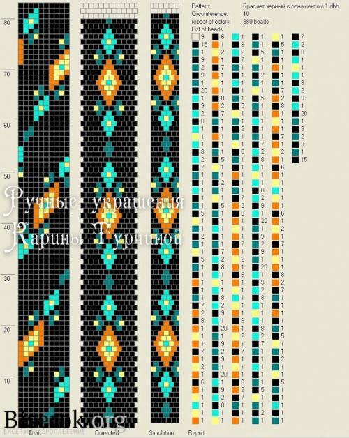 схема жгута с орнаментом на 10, мастер-класс по вязанию с бисером