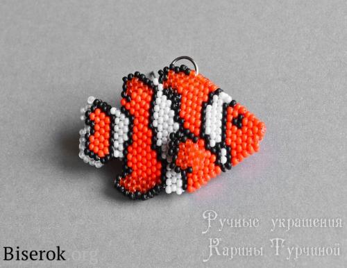 брелок рыбка из бисера схема, мастер-класс, рыбка из бисера схема кирпичиком