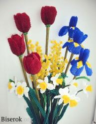 Цветы из бисера мастеркласс, схемы и фото